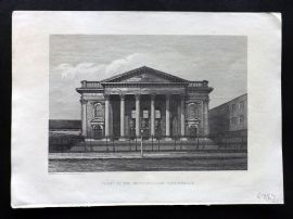 Cassell's Old and New London C1878 Print. Front of the Metropolitan Tabernacle